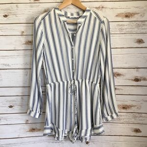Lush Romper blue and white stripe long sleeve S